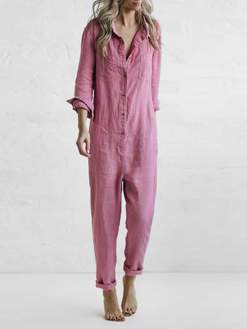 Casual Shirt Collar Solid Jumpsuit