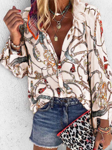 Casual Printed Stand Collar Long Sleeve Shirt
