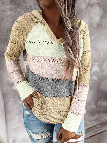 Multicolor Color Block Soft Warm Sweater