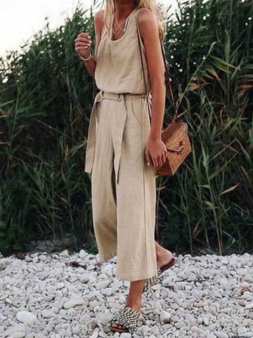 Sleeveless Solid Shift Jumpsuit