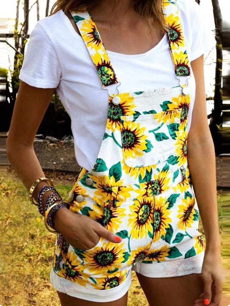 Casual Style Flower Printed Short Overall