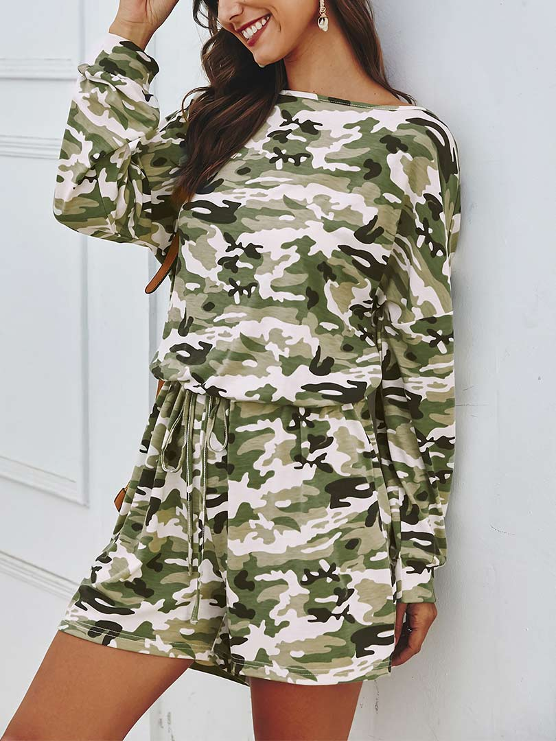 Casual Style Camouflage Printed Clothing Set