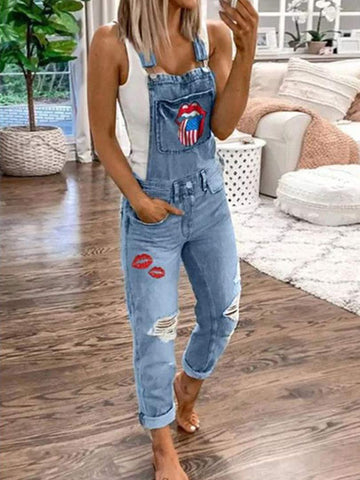 Printed Washed Jeans Jumpsuit