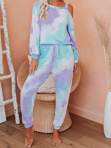 Daily Casual One Shoulder Tie Dye Clothing Set