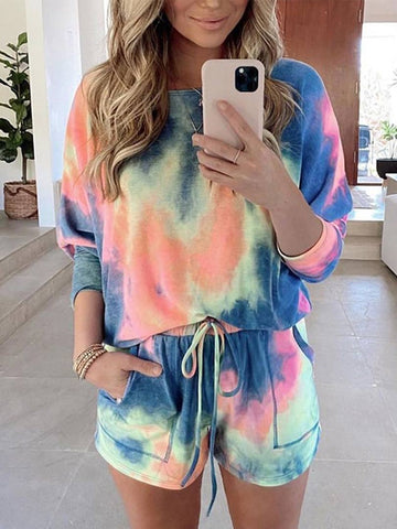 Long Sleeve Floral Tie-Dye Printed Clothing Set