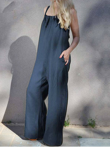 Summer Solid Color Wide Leg Jumpsuit