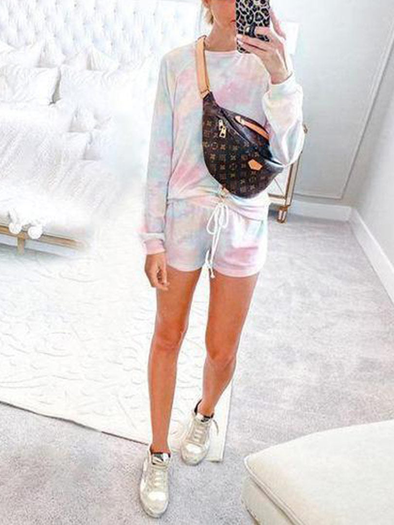 Casual Long Sleeve Floral Clothing Set