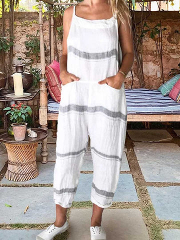 Stripe Pockets Sleeveless Jumpsuit