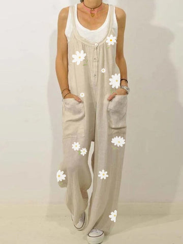 Summer Flower Print Jumpsuit