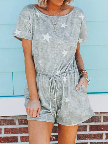 Stars Graphic Printed Short Jumpsuit