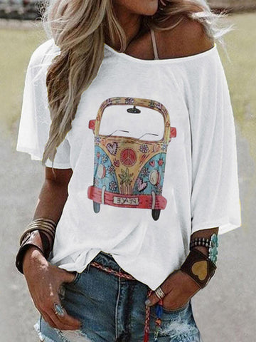 Cartoon Printed Crew Neck Tee