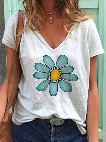 Flower Graphic Printed V Neck T-shirt