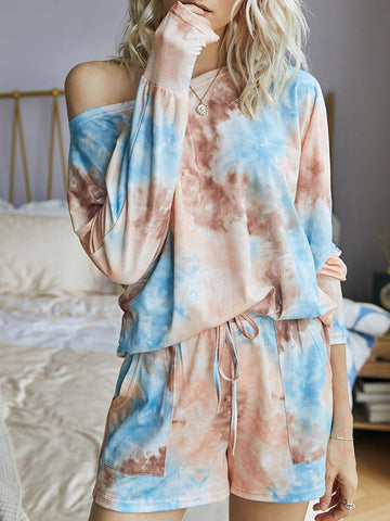 Crew Neck Long Sleeve Tie Dye Clothing Set