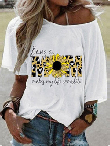 Letter MOM Leopard Printed T-shirt