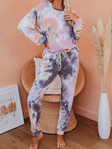 Daily Casual Tie Dye Loungewear Clothing Set