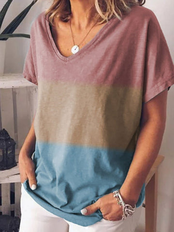 Casual Colorblock V Collar T-shirt