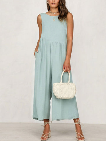 Sleeveless Pockets Wide Leg Jumpsuit