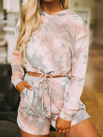 Casual Style Long Sleeve Tie-Dye Clothing Set