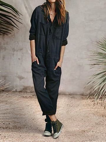 Casual Daily Solid Pockets Jumpsuit