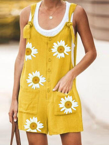 Fashion Cotton And Daisy Print Overalls