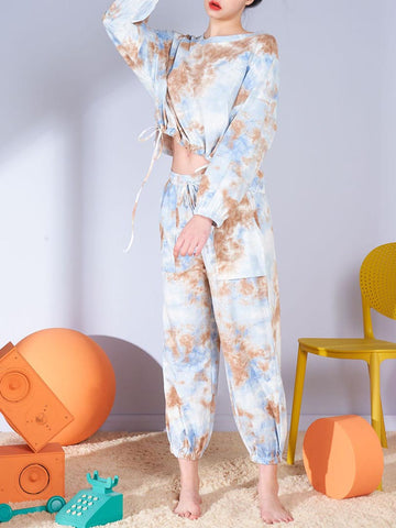 Casual Style Collect Waist Tie-Dye Clothing Set