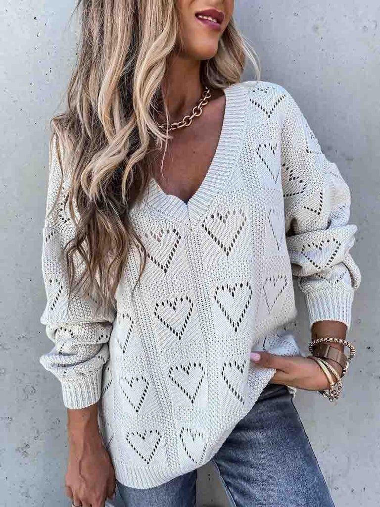 V Neck Heart Print Hollow Loose Knit Sweaters