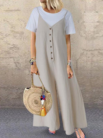 Summer Comfy Solid Button Jumpsuit