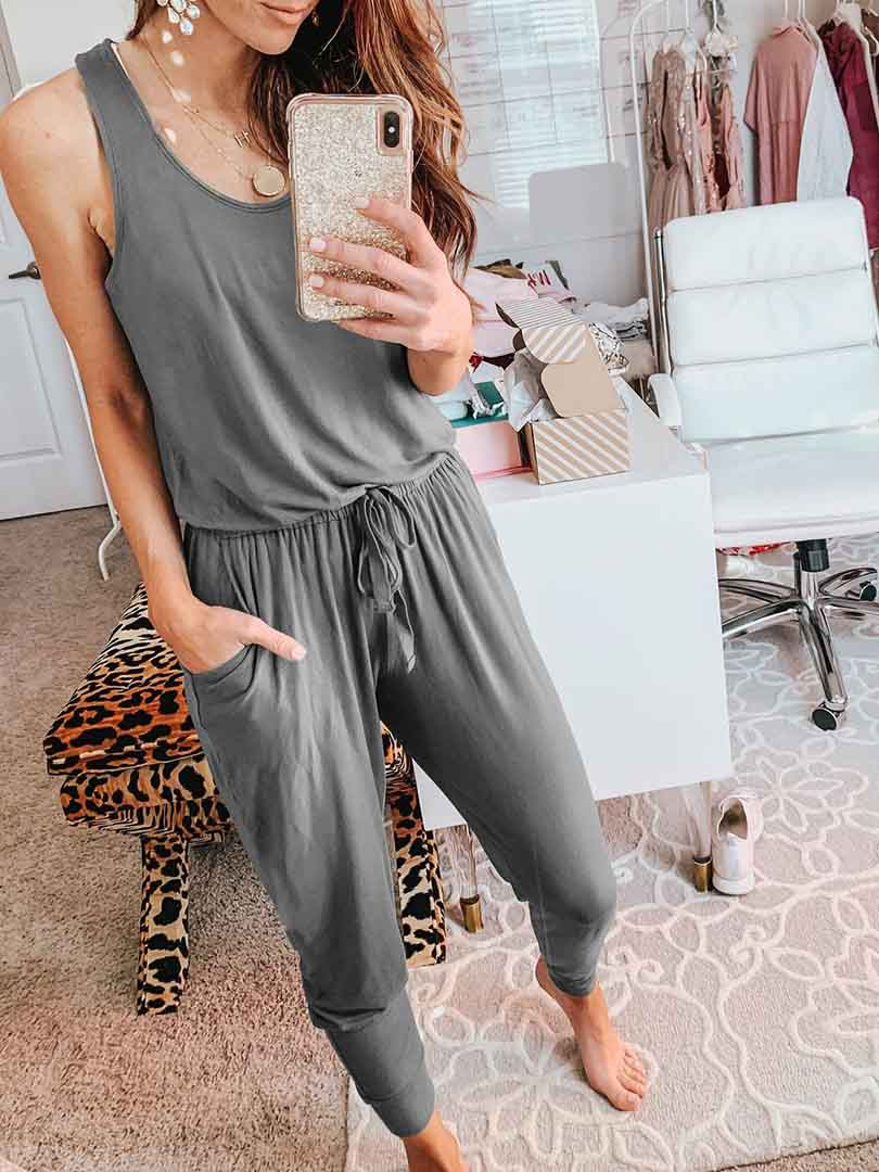 Sexy Backless Vest With Pocket Onesie Clothing