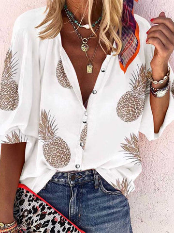 Pineapple Printed V Collar Button Blouse