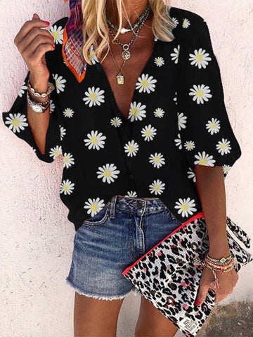 Daisy Printed V Neck Blouse