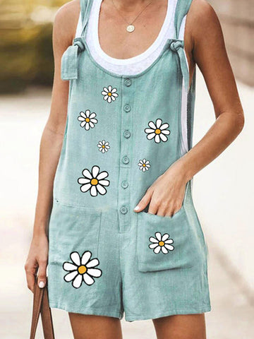 Casual Floral Printed Pockets Jumpsuit
