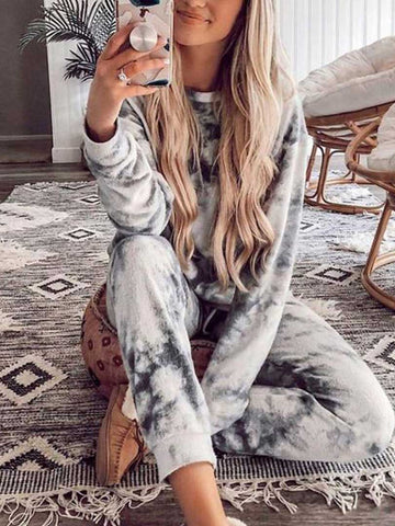Loose Style Long Sleeve Tie-Dye Clothing Set