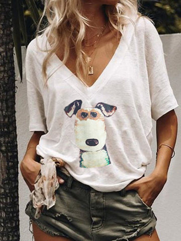 Casual DOG Graphic Print V Collar T-shirt