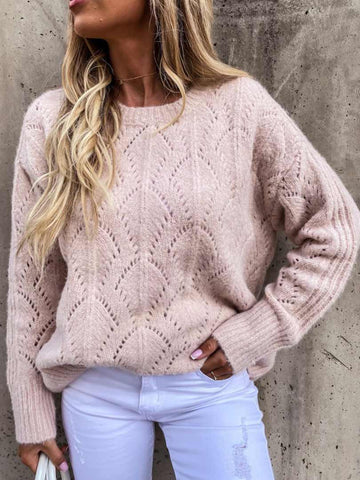 Macaron Color Chic Sweaters Hollow Knit Tops