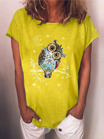 Cute Owl Graphic Printed T-shirt