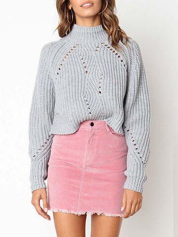 Stand Collar Bat Sleeves Casual Short Sweaters