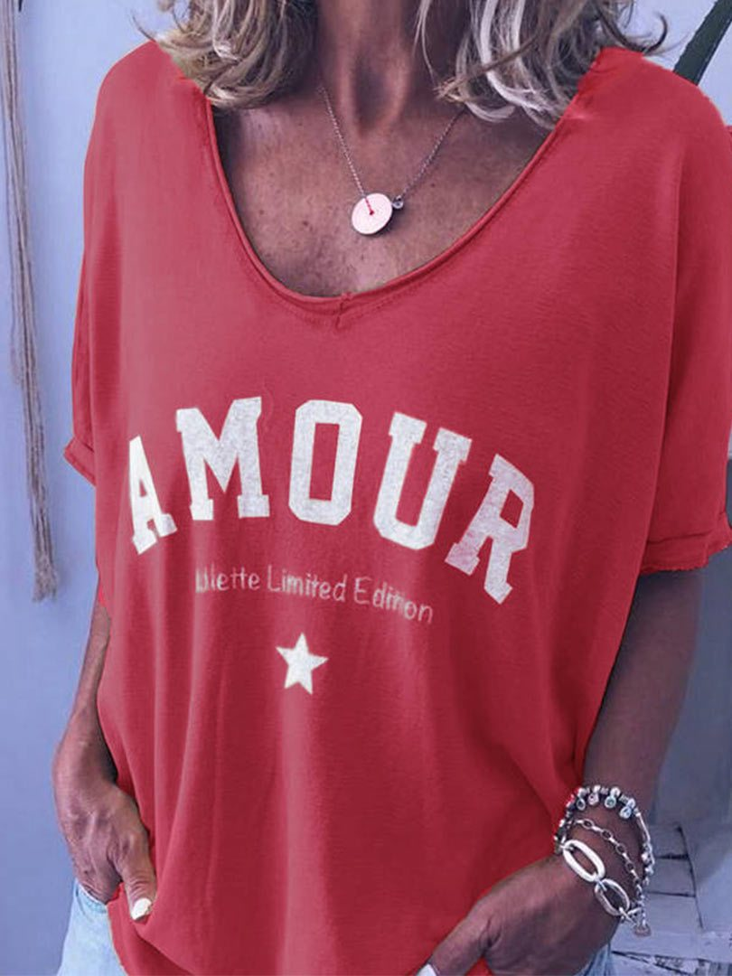 Star AMOUR Letter Printed T-shirt