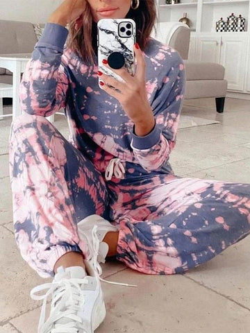 Long Sleeve Tie-Dye Printed Clothing Set