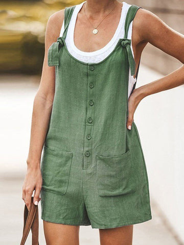 Solid Color Patch Pocket Strappy Overalls