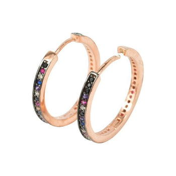 Multi crystal micro set huggie hoops