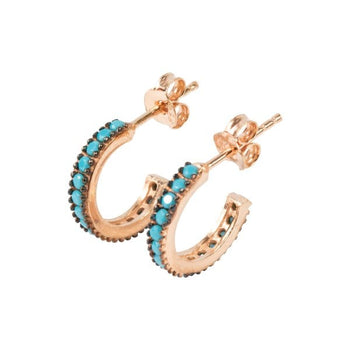 Turquoise crystal micro set mini hoops studs