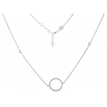 "Long Mayfair Necklace With Small ""Circle of Life"" And 3.5mm Crystals"