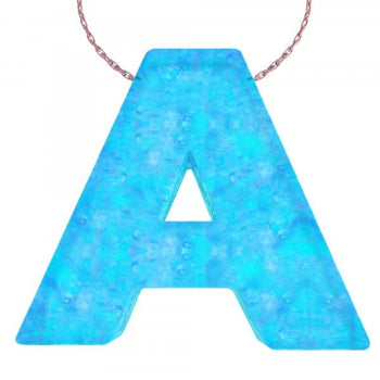 Alphabet A Letter - Opal Necklace