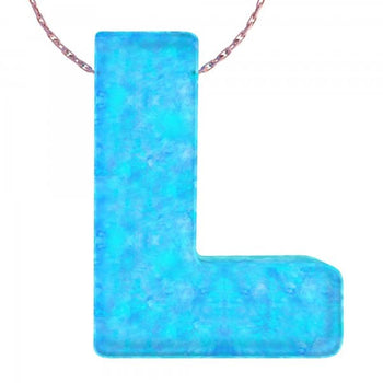Alphabet L Letter - Opal Necklace