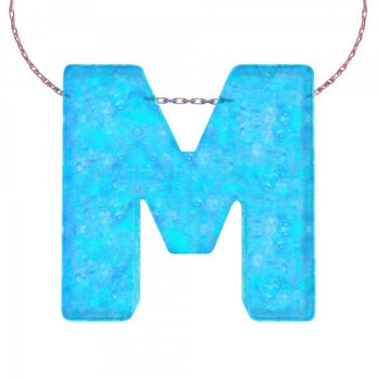 Alphabet M Letter - Opal Necklace