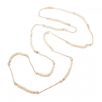 Pearl And Crystals Long Necklace - Sterling Silver - Freshwater Pearls