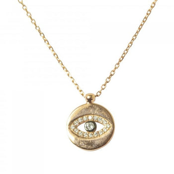 Round Coin Evil Eye Necklace - New Design