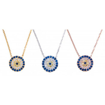 Evil Eye Necklace - 10mm diam Midi Size