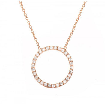 14K Solid Rose Gold Trademark Circle of Life Necklace - Hallmarked in London Assay Office