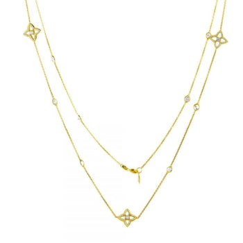 Crystal Lucky Quatrefoil Flower Long Necklace